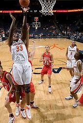 Virginia center Aisha Mohammed (33) shoots against Davidson.  The Virginia Cavaliers women's basketball team defeated the Davidson Wildcats 83-68 at the John Paul Jones Arena in Charlottesville, VA on December 20, 2007.