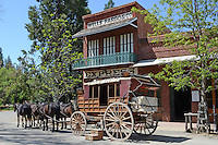 Stagecoach waiting outside the Wells Fargo depot, Main Street, Columbia, California, USA. Columbia is in fact Columbia State Historic Park where there is a real town built in the 1850's during the gold rush and where there still are 33 original buildings. 201304211754<br /> <br /> Copyright Image from Victor Patterson, 54 Dorchester Park, Belfast, UK, BT9 6RJ<br /> <br /> t1: +44 28 9066 1296<br /> t2: +44 28 9002 2446<br /> m: +44 7802 353836<br /> <br /> e1: victorpatterson@me.com<br /> e2: victorpatterson@gmail.com<br /> <br /> www.victorpatterson.com<br /> <br /> IMPORTANT: Please see my Terms and Conditions of Use at www.victorpatterson.com
