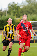 Danny Ellis & Keith Lowe during the Friendly match between Harrogate Town and York City at Wetherby Road, Harrogate, United Kingdom on 25 July 2015. Photo by Simon Davies.