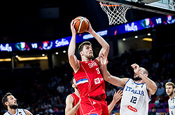 Ognjen Kuzmic of Serbia vs Marco Cusin of Italy during basketball match between National Teams of Italy and Serbia at Day 14 in Round of 16 of the FIBA EuroBasket 2017 at Sinan Erdem Dome in Istanbul, Turkey on September 13, 2017. Photo by Vid Ponikvar / Sportida