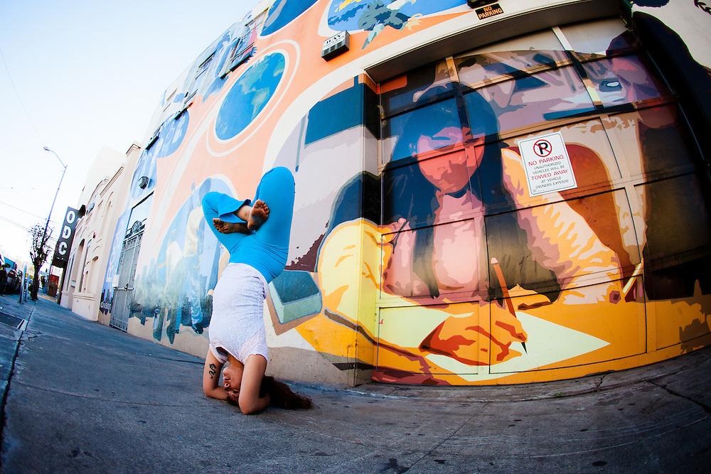 Giselle Mari near Gandhi Mural graffiti, San Francisco
