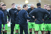 Forest Green Rovers head coach, Mark Cooper pre match talk during the EFL Sky Bet League 2 match between Forest Green Rovers and Plymouth Argyle at the New Lawn, Forest Green, United Kingdom on 16 November 2019.