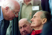 Fomer baseball player and manager Tommy Lasorda (L) talks with baseball legend Ted Williams during an event at the Ted Williams Hitters Hall of Fame in Hernando, Florida, February 17, 2002. Williams died of cardiac arrest July 5, 2002, at the age of 83. REUTERS/Colin Braley