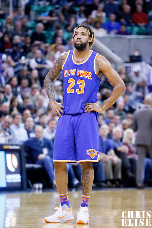 09 December 2015: New York Knicks forward Derrick Williams (23) rests during the Utah Jazz 106-85 victory over the New York Knicks, at the Vivint Smart Home Arena, Salt Lake City, Utah, USA.