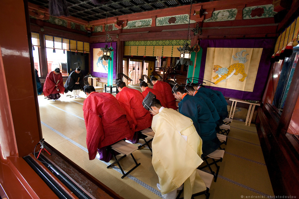 The main ceremony inside the main shrine, during the second day of the 3-day anual festival of Tsurugaoka Hachimangu Shrine in Kamakura.