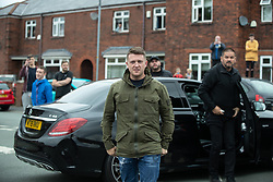 © Licensed to London News Pictures . 18/05/2019. Oldham, UK. Former EDL leader STEPHEN YAXLEY-LENNON (aka Tommy Robinson ) continues his campaign for a seat in the European Parliament representing the North West of England , by visiting Oldham . Photo credit: Joel Goodman/LNP
