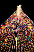 Christmas tree at Zilker Park is a favorite gathering place for spinning and dizzying as part of the Trail of Lights, Austin, Texas.