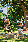 Statue of Charles Wicker in Wicker Park August 2, 2015 in Chicago, Illinois, USA.