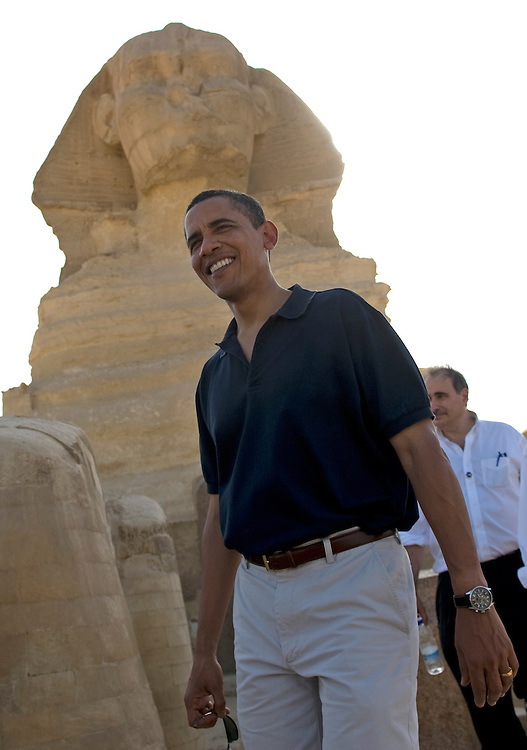 US President Barack Obama tours the Sphinx  and the Great Pyramids of Egypt  in Giza Egypt on 04 June 2009. Earlier today Obama delivered a much anticipated address on American Foreign Policy at Cairo University in Cairo.