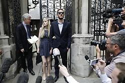 &copy; Licensed to London News Pictures. 10/07/2017. London, UK. Connie Yates and <br /> Chris Gard give a statement at The High Court in London on 10 July 2017. The parents of terminally ill Charlie Gard have returned to the High Court in light of new evidence relating to potential treatment for their son's condition. An earlier lengthy legal battle ruled that Charlie could not be taken to the US for experimental treatment. London, UK. Photo credit: Tolga Akmen/LNP