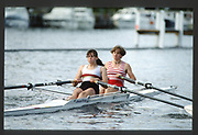 Henley, England,  W2X,   Stroke Susanne KIRK and Andria  GRUMDITCH 1990 Women's Henley Regatta, Henley Reach, River Thames Oxfordshire <br /> <br /> <br /> [Mandatory Credit; Peter Spurrier/Intersport-images]