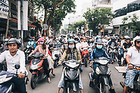 Traffic and motorbikes in Danang, Vietnam.