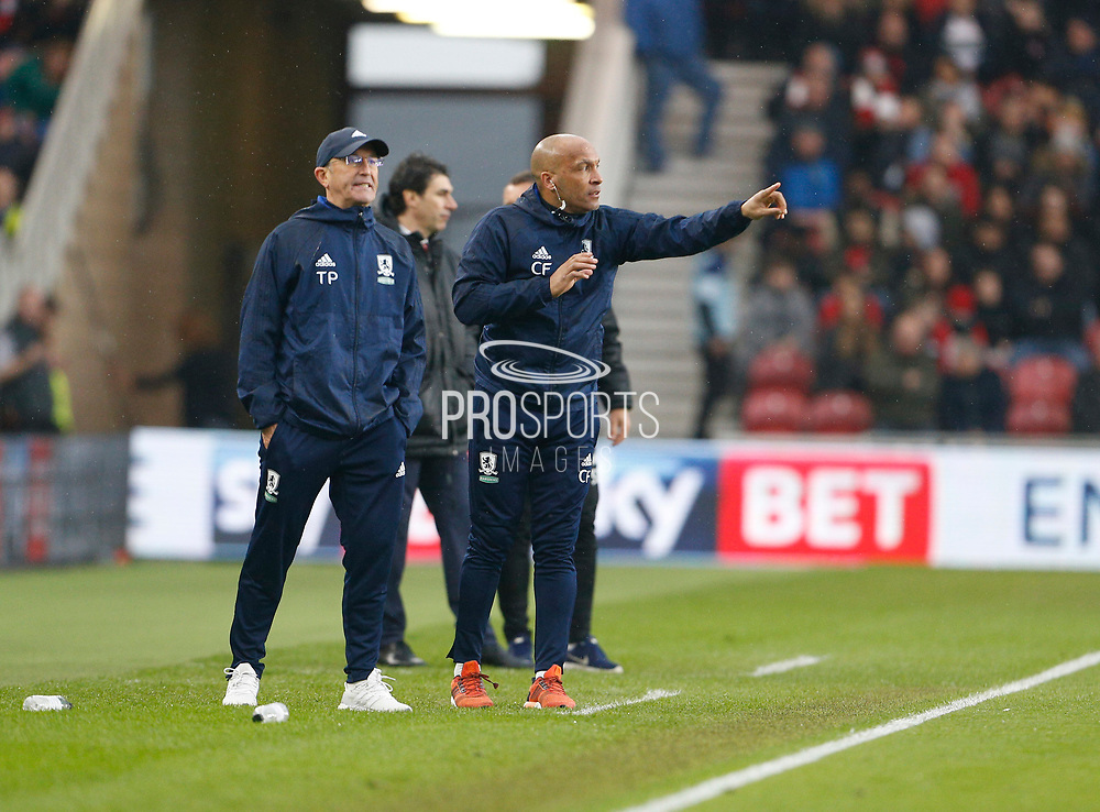Tony Pulis Manager of Middlesbrough and Curtis Fleming First Team Coach of Middlesbrough during the EFL Sky Bet Championship match between Middlesbrough and Nottingham Forest at the Riverside Stadium, Middlesbrough, England on 7 April 2018. Picture by Paul Thompson.