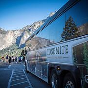 A tour bus stops at Tunnel View inside Yosemite National Park on Sunday, September 22, 2019 in Yosemite, California. (Alex Menendez via AP)