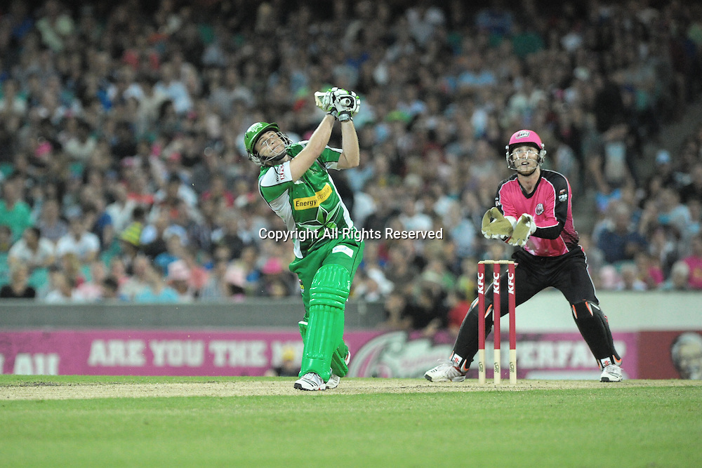 27.12.2011 Sydney, Australia. Melbourne Stars English all rounder Luke Wright in action during the KFC T20 Big Bash League game between the Sydney Sixers  and the Melbourne Stars at the Sydney Cricket Ground.