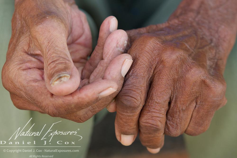 A closeup of a mans hands from Trinidad, Cuba.