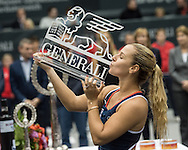 Dominika Cibulkova (SVK) wins the final of the WTA Generali Ladies Linz Open at TipsArena, Linz<br /> Picture by EXPA Pictures/Focus Images Ltd 07814482222<br /> 16/10/2016<br /> *** UK &amp; IRELAND ONLY ***<br /> <br /> EXPA-REI-161016-5029.jpg