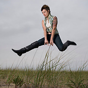 Kelly Horrigan, designer and artist of Kelly Horrigan Handmade, is photographed at the Sand Dunes in Provincetown, Massachusetts on October 8, 2007. photo by Angela Jimenez