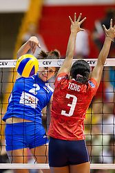 24.09.2011, Hala Pionir, Belgrad, SRB, Europameisterschaft Volleyball Frauen, Vorrunde Pool A, Serbien (SRB) vs. Frankreich (FRA), im Bild Jovana Brakocevic (#2 SRB) - Taiana Tere (#3 FRA) // during the 2011 CEV European Championship, First round at Hala Pionir, Belgrade, SRB, 2011-09-24. EXPA Pictures © 2011, PhotoCredit: EXPA/ nph/  Kurth       ****** out of GER / CRO  / BEL ******