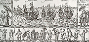 The above image is a reproduction of the title picture for the journal of the first voyage to the East Indies, led by Cornelis Houtman, undertaken in 1595 which set sail with the four ships sent out by the Amsterdam 'Compagnie van Verre'.  Cornelis de Houtman (2 April 1565 – August 1599), brother of Frederick de Houtman, was a Dutch explorer who discovered a new sea route from Europe to Indonesia and managed to begin the Dutch spice trade. At the time, the Portuguese Empire held a monopoly on the spice trade, and the voyage was a symbolic victory for the Dutch, even though the voyage itself was a disaster