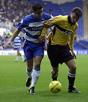 Picture: Henry Browne.<br />Date: 08/11/2003.<br />Reading v Wigan Athletic Nationwide Division One.<br /><br />Geoff Horsfield of Wigan holds off Scott Murray of Reading