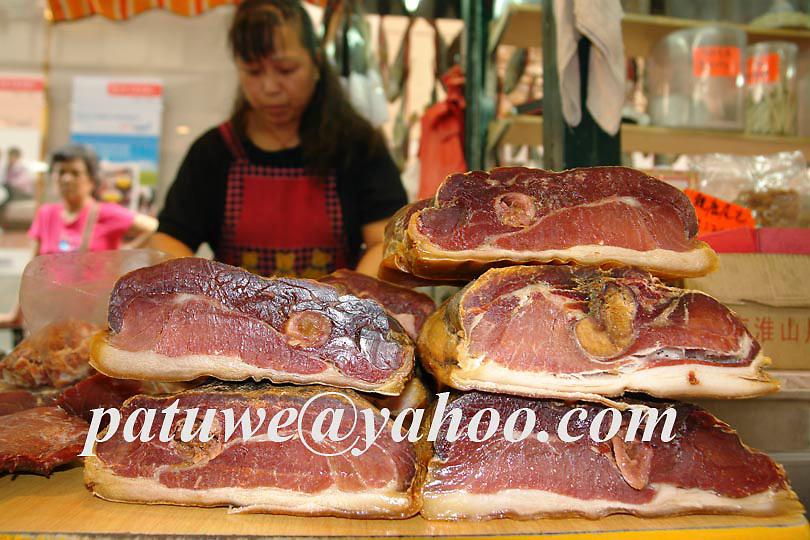 Jinhua ham, Sheung Wan street scene, Ham selling, Hong Kong