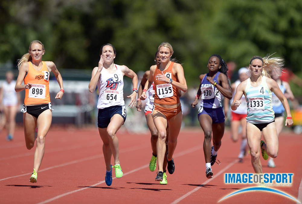 Apr 5, 2014; Stanford, CA, USA; Clara Nicols of Oklahoma State (808) wins womens 800m heat in 2:06.83 in the 2014 Stanford Invitational at Cobb Track & Angell  Field. Frm left: Nicols and Meghan Burggraf (Liberty), Katie Hoaldridge (Texas), Sonia Gaskin (Kansas State) and Kelsey Williamson.