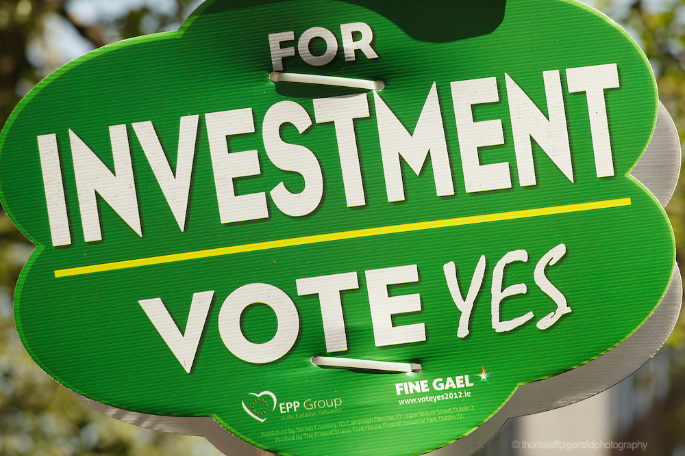 "A close up of a ""Vote Yes"" poster supporting the Fiscal Treaty with the message ""For Investment Vote Yes"""
