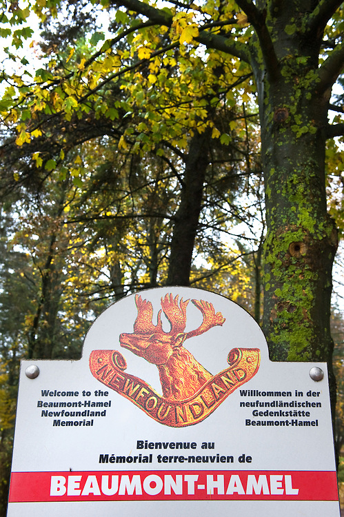 The sign at the entrance to Beaumont-Hamel Newfoundland Memorial. The memorial  is dedicated to the commemoration of the Newfoundland Regiment that fought in the battle of Somme and WWI in general. Most of the  Newfoundland Regiment were dead within 15 to 20 minutes of leaving their trench in the morning of the 1st July 1916 during the first day of the Battle of the Somme.