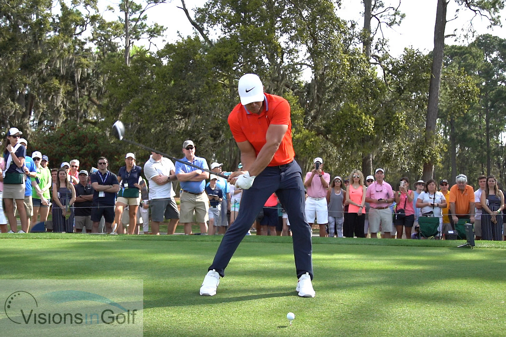 Brooks Koepka<br /> With driver<br /> Face on<br /> High speed swing sequence<br /> 2019<br /> <br /> Pictures Credit: Mark Newcombe/visionsingolf.com