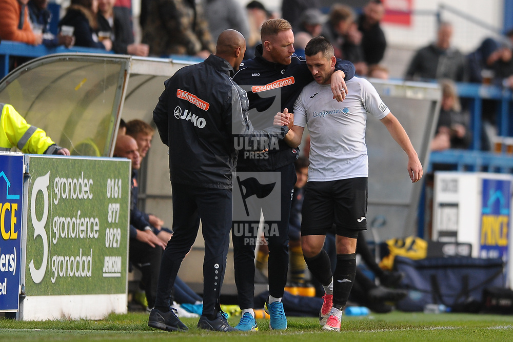 TELFORD COPYRIGHT MIKE SHERIDAN Hatttrick hero Aaron Williams of Telford is congratulated by Gavin Cowan and Phil Trainer after being substituted during the Vanarama National League Conference North fixture between AFC Telford United and Guiseley on Saturday, October 19, 2019.<br /> <br /> Picture credit: Mike Sheridan/Ultrapress<br /> <br /> MS201920-026