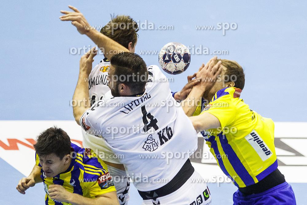 Mlakar Ziga #55 of RK Celje Pivovarna Lasko during handball match between RK Celje Pivovarna Lasko (SLO) and IFK Kristianstad (SWE) in Group phase of EHF Men's Champions League 2016/17, on February 11, 2017 in Arena Zlatorog, Celje, Slovenia. Photo by Grega Valancic