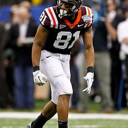 January 3, 2012; New Orleans, LA, USA; Virginia Tech Hokies wide receiver Jarrett Boykin (81) against the Michigan Wolverines during the Sugar Bowl at the Mercedes-Benz Superdome. Michigan defeated Virginia 23-20 in overtime. Mandatory Credit: Derick E. Hingle-US PRESSWIRE