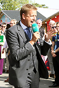 TV Racing Presenter Ed Chamberlain during the fourth and final day of the St Leger Festival at Doncaster Racecourse, Doncaster, United Kingdom on 14 September 2019.