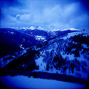 Winter Scenic of the Holy Cross Wilderness from the Back Bowls of Vail Ski Resort, Colorado.