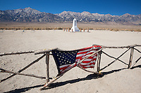 U.S. Flag Hanging on Fence to Cemetery at Manzanar NHS, Independence, California