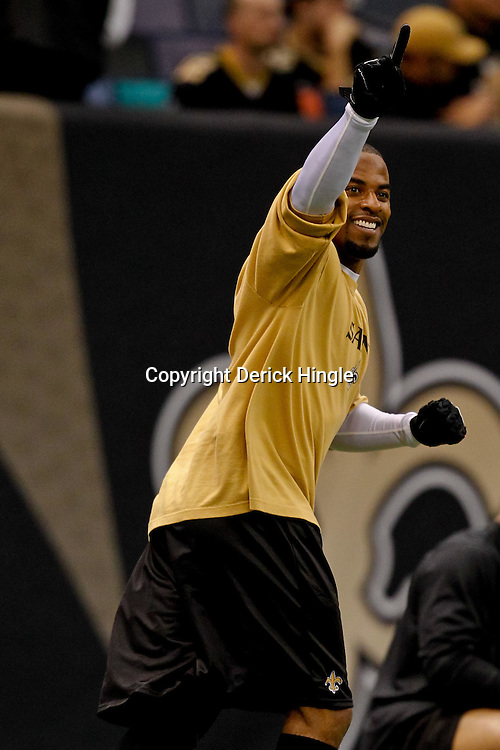 Oct 24, 2010; New Orleans, LA, USA; New Orleans Saints safety Darren Sharper during warm ups prior to kickoff of a game against the Cleveland Browns at the Louisiana Superdome. Mandatory Credit: Derick E. Hingle