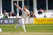 Lancashire's Kyle Jarvis appeals for a dismissal during the Specsavers County Champ Div 1 match between Somerset County Cricket Club and Lancashire County Cricket Club at the County Ground, Taunton, United Kingdom on 4 May 2016. Photo by Graham Hunt.