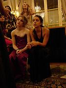 Imogen Hervey-Bathurst and  Jenna Barclay. Crillon Debutante Ball. Getting ready. Crillon Hotel. Paris. 26 November 2004. ONE TIME USE ONLY - DO NOT ARCHIVE  © Copyright Photograph by Dafydd Jones 66 Stockwell Park Rd. London SW9 0DA Tel 020 7733 0108 www.dafjones.com