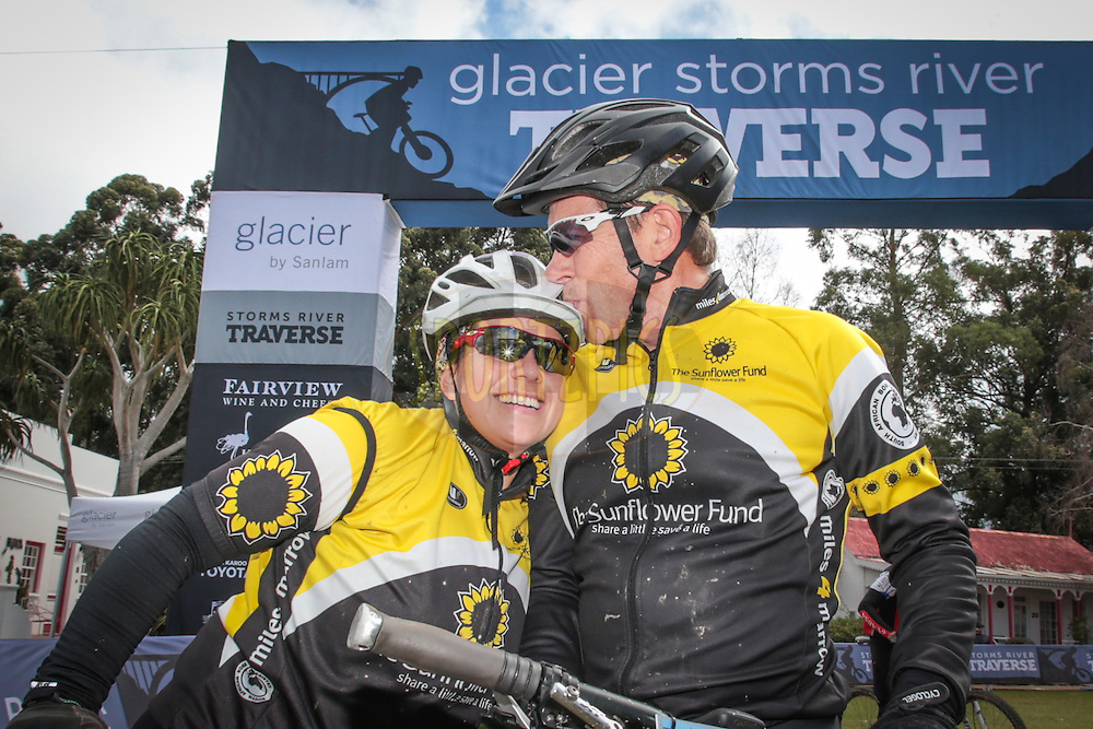 Leandri and Dirk Joubert celebrate finishing day one of the Glacier Storms River Traverse mountain bike stage race held at the The Tsitsikamma Village Inn situated in Storms River Village on the Garden route, South Africa on the 6th August 2016<br /> <br /> Photo by:    / Dryland Event Management / SPORTZPICS<br /> <br /> <br /> {dem16gst}