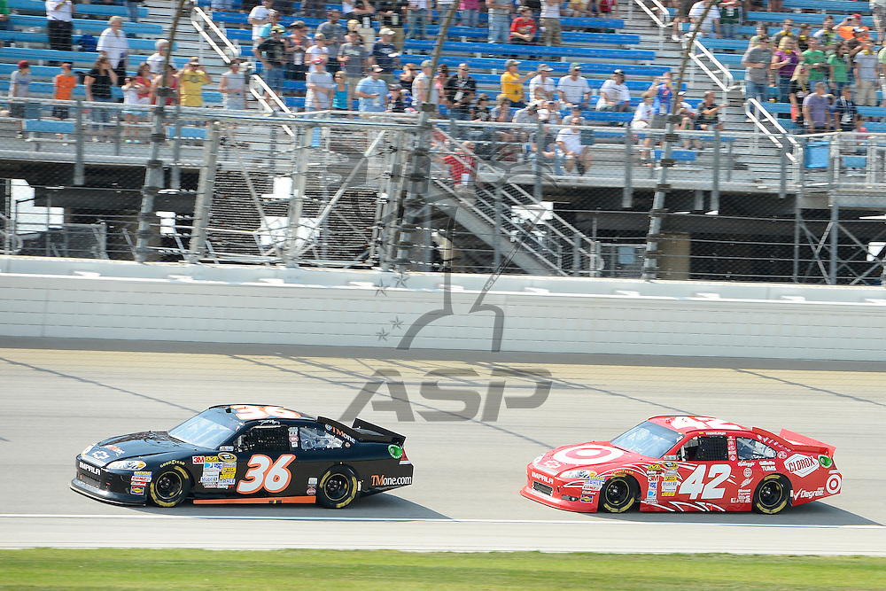 Joliet, IL - SEP 16, 2012: Juan Pablo Montoya (42)  races during the Geico 400 at the Chicagoland Speedway in Joliet, IL.