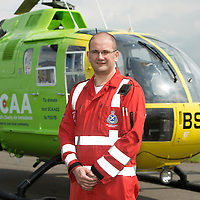 SCAA..Scotland's Charity Air Ambulance paramedic Andy Walker<br /> The helicopter is a Bolkow 105 supplied by Bond Aviation Services.<br /> Picture by Graeme Hart.<br /> Copyright Perthshire Picture Agency<br /> Tel: 01738 623350  Mobile: 07990 594431