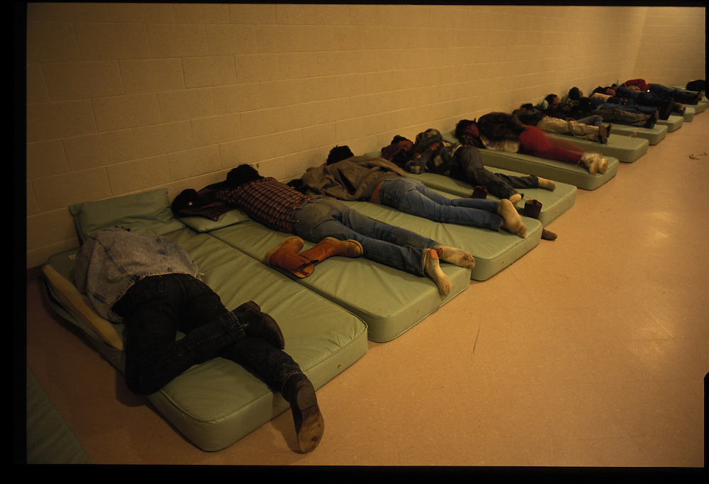 The mattresses are filled at an alcohol-detoxification in Gallup.  Such tragic people are only a small percentage of the Navajo population, but haunting evidence of the dilemma of modern Indian life.