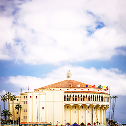 Avalon Casino Catalina Island vertical picture with copy space. The Avalon Casino is a historic art deco movie theatre built in 1929 by the Wrigley family. Catalina Island is a popular travel desination off the coast of Southern California in the United States.
