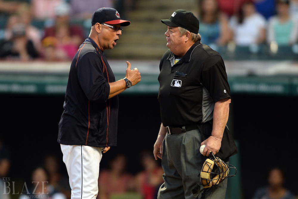 Sep 4, 2016; Cleveland, OH, USA; Cleveland Indians manager Terry Francona (17) argues with umpire Joe West (22) during the ninth inning against the Miami Marlins at Progressive Field. Francine was ejected. The Indians won 6-5. Mandatory Credit: Ken Blaze-USA TODAY Sports