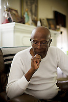 Robert Dixon, Sr., waits for his son, Robert Dixon, Jr., who was denied parole after a psychological evaluation deemed him a psychopath despite transforming his life through completing education courses and self-improvement seminars, at his home, in Stockton, Ca., on Saturday, May 14, 2011.