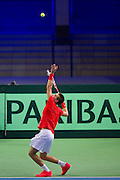Borna Coric of Croatia competes at single match during the BNP Paribas Davis Cup 2014 between Poland and Croatia at Torwar Hall in Warsaw on April 4, 2014.<br /> <br /> Poland, Warsaw, April 4, 2014<br /> <br /> Picture also available in RAW (NEF) or TIFF format on special request.<br /> <br /> For editorial use only. Any commercial or promotional use requires permission.<br /> <br /> Mandatory credit:<br /> Photo by &copy; Adam Nurkiewicz / Mediasport