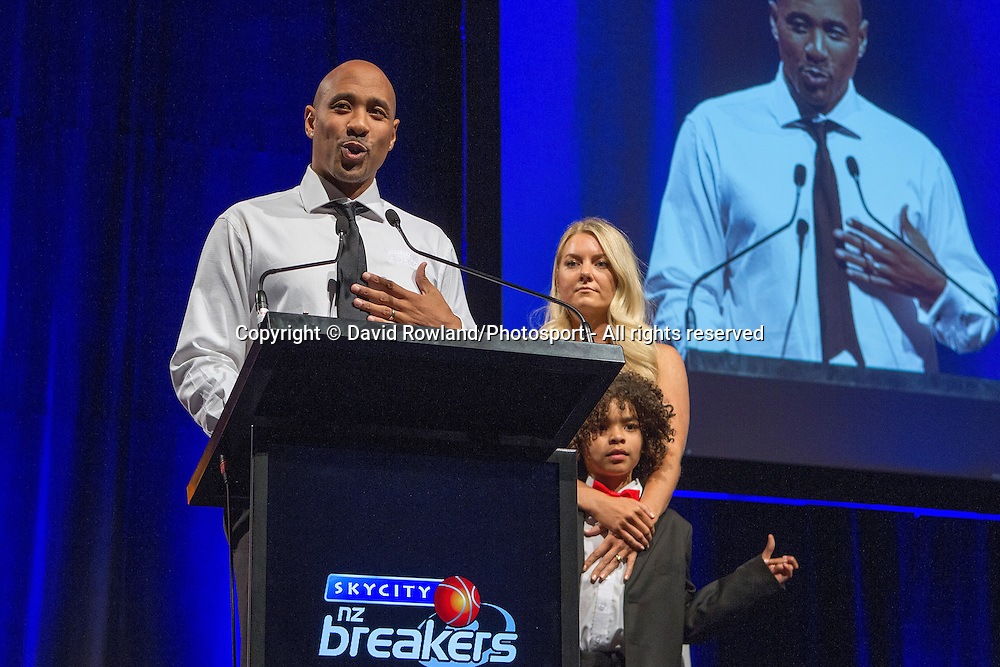 Breakers' CJ Bruton with wife Jess and son Rio at the Skycity Breakers Awards, 2013-14, Skycity Convention Centre, Auckland, New Zealand, Friday, March 28, 2014. Photo: David Rowland/Photosport