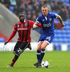 Peter Clarke of Oldham Athletic takes on Sylvain Ebanks-Blake of Shrewsbury Town - Mandatory by-line: Matt McNulty/JMP - 03/09/2016 - FOOTBALL - Sportsdirect.com Park - Oldham, England - Oldham Athletic v Shrewsbury Town - Sky Bet League One