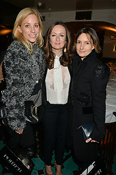 Left to right, KATE DRIVER, LUCY YEOMANS and DAISY BATES at a dinner in honour of Christy Turlington hosted by Porter magazine at Mr Chow, Knightsbridge, London on 18th November 2014.
